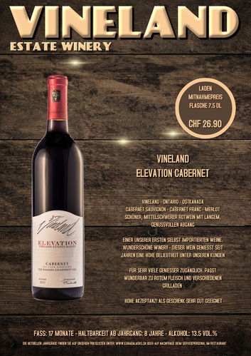 Vineland, Elevation Cabernet, VQA, 7.5dl, 2016