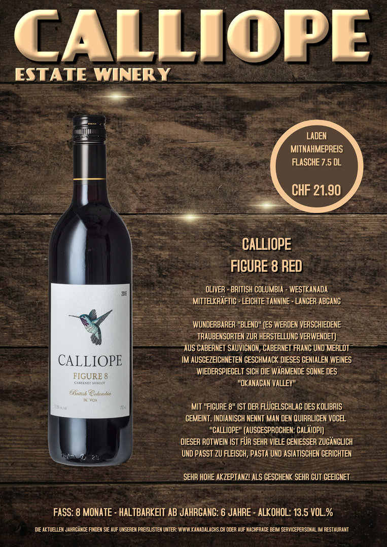 Calliope Figure 8 Red, VQA, 7.5dl, 2016