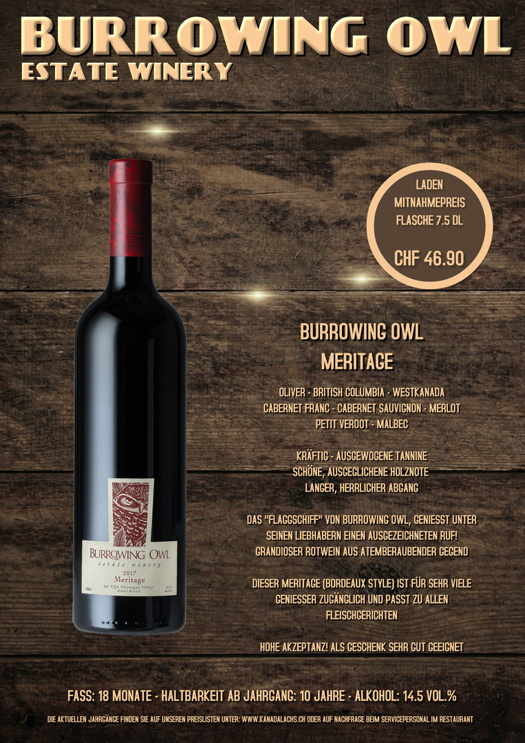Burrowing Owl, Meritage, VQA, 7.5dl, 2014