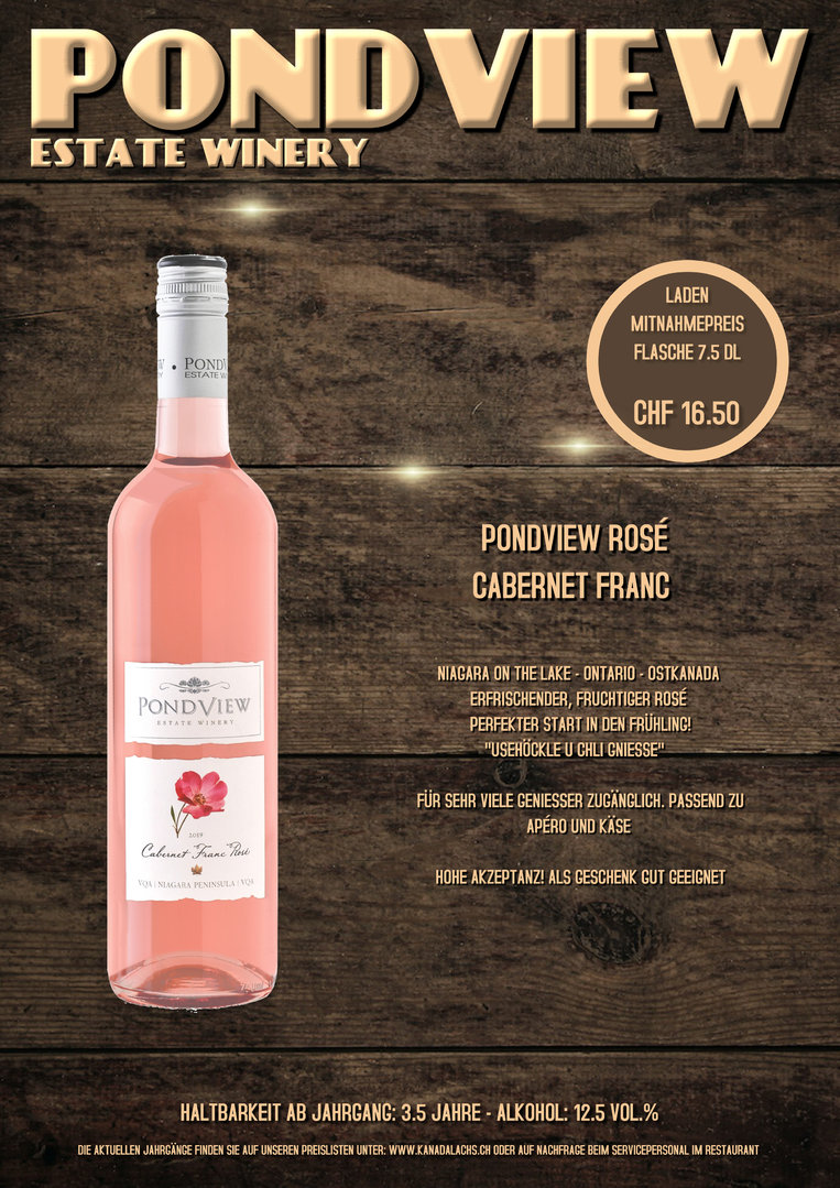 Pond View, Rose (Cabernet Franc), VQA, 7.5dl, 2017