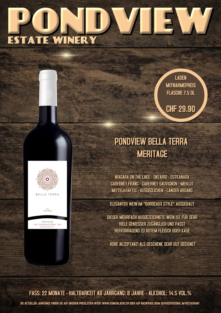Pond View, Bella Terra, Meritage, VQA, 7.5dl, 2016