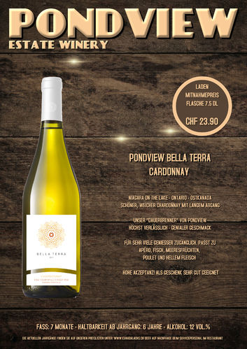 Pond View, Bella Terra, Chardonnay, VQA, 7.5dl, 2018