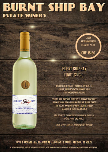 Burnt Ship Bay, Pinot Grigio, VQA, 7.5dl, 2018