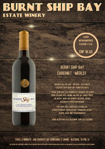 Burnt Ship Bay, Cabernet / Merlot, VQA, 7.5dl, 2018