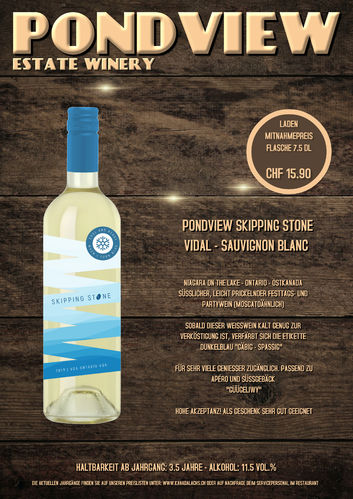 Pond View, Skipping Stone White, VQA, 7.5dl, 2018